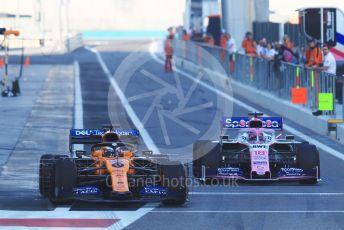 World © Octane Photographic Ltd. Formula 1 – Abu Dhabi Pirelli Tyre Test. McLaren MCL34 – Carlos Sainz and SportPesa Racing Point RP19 – Lance Stroll. Yas Marina Circuit, Abu Dhabi, UAE. Wednesday 4th December 2019.