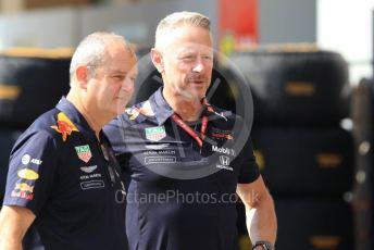 World © Octane Photographic Ltd. Formula 1 - Abu Dhabi GP - Paddock. Jonathan Wheatley - Team Manager and Gerrard O'Reilly - Race Team Coordinator at Red Bull Racing. Yas Marina Circuit, Abu Dhabi, UAE. Thursday 28th November 2019.