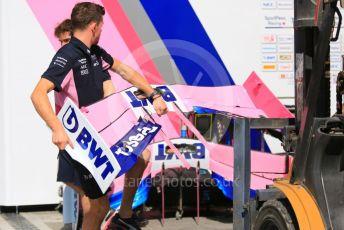 World © Octane Photographic Ltd. Formula 1 – Abu Dhabi GP - Paddock. SportPesa Racing Point RP19 - unpacking new front wings. Yas Marina Circuit, Abu Dhabi, UAE. Thursday 28th November 2019.