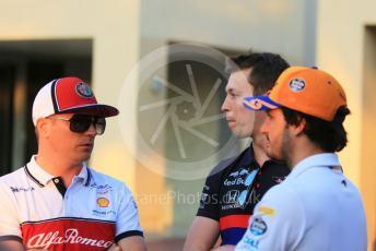 World © Octane Photographic Ltd. Formula 1 – Abu Dhabi GP - Paddock. McLaren MCL34 – Carlos Sainz, Scuderia Toro Rosso STR14 – Daniil Kvyat and Alfa Romeo Racing C38 – Kimi Raikkonen. Yas Marina Circuit, Abu Dhabi, UAE. Thursday 28th November 2019.