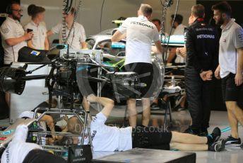 World © Octane Photographic Ltd. Formula 1 – Abu Dhabi GP - Pitlane. Mercedes AMG Petronas Motorsport AMG F1 W10 EQ Power+ - Valtteri Bottas. Yas Marina Circuit, Abu Dhabi, UAE. Thursday 28th November 2019.