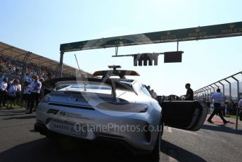 """World © Octane Photographic Ltd. Formula 1 – Australian GP Grid. Mercedes AMG GT Safety car with """"Thank You Charlie"""" markings for Charlie Whiting. Melbourne, Australia. Sunday 17th March 2019."""