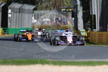 World © Octane Photographic Ltd. Formula 1 – Australian GP Practice 1. SportPesa Racing Point RP19 - Sergio Perez, McLaren MCL34 – Carlos Sainz and Alfa Romeo Racing C38 – Kimi Raikkonen. . Friday 15th Melbourne, Australia. Friday 15th March 2019.
