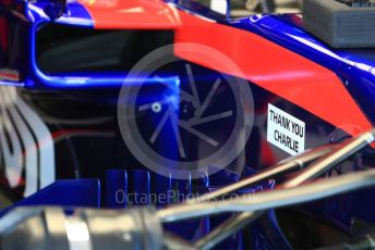 World © Octane Photographic Ltd. Formula 1 – Australian GP Practice 3. Scuderia Toro Rosso STR14 Thank You Charlie marking on bodywork for Charlie Whiting. Saturday 16th Melbourne, Australia. Saturday 16th March 2019.