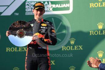 World © Octane Photographic Ltd. Formula 1 – Australian GP Podium. Aston Martin Red Bull Racing RB15 – Max Verstappen. Melbourne, Australia. Sunday 17th March 2019.