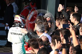 World © Octane Photographic Ltd. Formula 1 – Australian GP Parc Ferme. Mercedes AMG Petronas Motorsport AMG F1 W10 EQ Power+ - Lewis Hamilton. Melbourne, Australia. Sunday 17th March 2019.