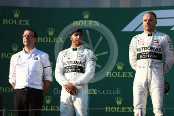 World © Octane Photographic Ltd. Formula 1 – Australian GP Podium. Mercedes AMG Petronas Motorsport AMG F1 W10 EQ Power+ - Valtteri Bottas and Lewis Hamilton. Melbourne, Australia. Sunday 17th March 2019.