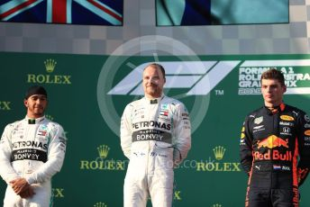 World © Octane Photographic Ltd. Formula 1 – Australian GP Podium. Mercedes AMG Petronas Motorsport AMG F1 W10 EQ Power+ - Valtteri Bottas and Lewis Hamilton and Aston Martin Red Bull Racing RB15 – Max Verstappen. Melbourne, Australia. Sunday 17th March 2019.