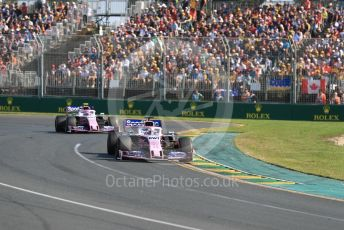 World © Octane Photographic Ltd. Formula 1 – Australian GP Race. SportPesa Racing Point RP19 - Sergio Perez and Lance Stroll. Melbourne, Australia. Sunday 17th March 2019.