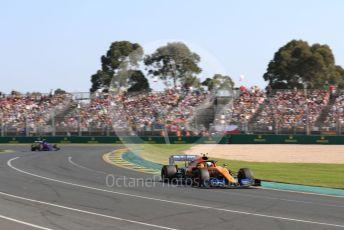 World © Octane Photographic Ltd. Formula 1 – Australian GP Race. McLaren MCL34 – Lando Norris and Toro Rosso STR14 – Alexander Albon. Melbourne, Australia. Sunday 17th March 2019.