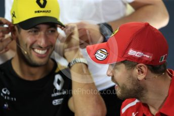 World © Octane Photographic Ltd. Formula 1 - Australian GP Thursday FIA Driver Press Conference. Renault Sport F1 Team RS19 – Daniel Ricciardo and Scuderia Ferrari SF90 – Sebastian Vettel. Thursday 14th Melbourne, Australia. Thursday 14th March 2019