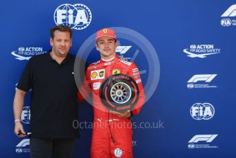World © Octane Photographic Ltd. Formula 1 – Austrian GP - Qualifying. Scuderia Ferrari SF90 – Charles Leclerc receives the Pirelli Pole Position Award from the Pirelli Representative, Lukas Lauda. Red Bull Ring, Spielberg, Styria, Austria. Saturday 29th June 2019.