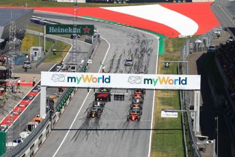 World © Octane Photographic Ltd. Formula 1 – Austrian GP - Race. Scuderia Ferrari SF90 – Charles Leclerc leads race start. Red Bull Ring, Spielberg, Styria, Austria. Sunday 30th June 2019