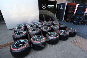 World © Octane Photographic Ltd. Formula 1 – Austrian GP - Paddock. Pirelli tyre for Mercedes. Red Bull Ring, Spielberg, Styria, Austria. Thursday 27th June 2019.