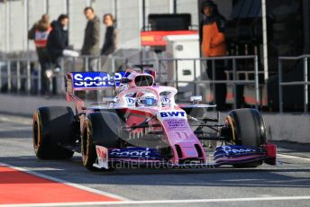 World © Octane Photographic Ltd. Formula 1 – Winter Testing - Test 1 - Day 1. SportPesa Racing Point - Sergio Perez. Circuit de Barcelona-Catalunya. Monday 18th February 2019.