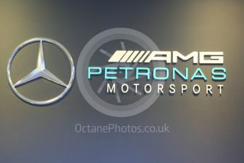 World © Octane Photographic Ltd. Formula 1 – Winter Testing - Test 1 - Day 1. Mercedes AMG Petronas logo. Circuit de Barcelona-Catalunya. Monday 18th February 2019.