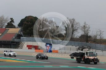 World © Octane Photographic Ltd. Formula 1 – Winter Testing - Test 1 - Day 3. Rich Energy Haas F1 Team VF19 – Pietro Fittipaldi car gets returned to pit lane on a truck. Circuit de Barcelona-Catalunya. Wednesday 20th February 2019.