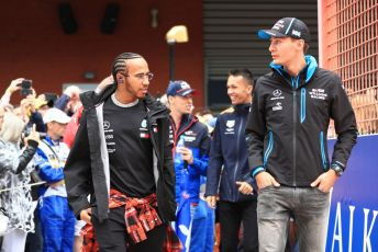 World © Octane Photographic Ltd. Formula 1 – Belgium GP - Drivers Parade. Mercedes AMG Petronas Motorsport AMG F1 W10 EQ Power+ - Lewis Hamilton and ROKiT Williams Racing FW 42 – George Russell. Circuit de Spa Francorchamps, Belgium. Sunday 1st September 2019.