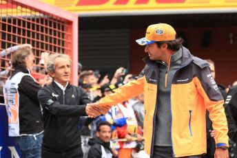 World © Octane Photographic Ltd. Formula 1 – Belgium GP - Drivers Parade. McLaren MCL34 – Carlos Sainz shakes hands with Alain Prost – Non-Executive Director Renault Sport Formula 1 Team. Circuit de Spa Francorchamps, Belgium. Sunday 1st September 2019.