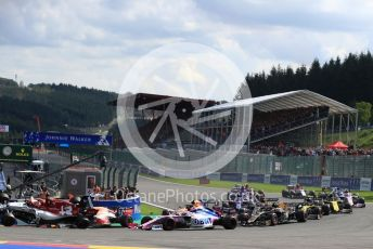 World © Octane Photographic Ltd. Formula 1 – Belgium GP - Race. Aston Martin Red Bull Racing RB15 – Max Verstappen and Alfa Romeo Racing C38 – Kimi Raikkonen. Circuit de Spa Francorchamps, Belgium. Sunday 1st September 2019.