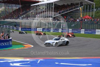 World © Octane Photographic Ltd. Formula 1 – Belgium GP - Race. Scuderia Ferrari SF90 – Charles Leclerc leads under safety car. Circuit de Spa Francorchamps, Belgium. Sunday 1st September 2019.