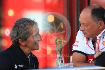 World © Octane Photographic Ltd. Formula 1 - Belgium GP - Paddock. Alain Prost – Non-Executive Director Renault Sport Formula 1 Team and Frederic Vasseur – Team Principal and CEO of Sauber Motorsport AG. Circuit de Spa Francorchamps, Belgium. Friday 29th August 2019.