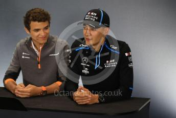 World © Octane Photographic Ltd. Formula 1 – British GP. FIA Drivers Press Conference. ROKiT Williams Racing – George Russell and McLaren – Lando Norris. Silverstone Circuit, Towcester, Northamptonshire. Thursday 11th July 2019.