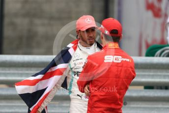 World © Octane Photographic Ltd. Formula 1 – British GP - Race - Podium. Mercedes AMG Petronas Motorsport AMG F1 W10 EQ Power+ - Lewis Hamilton and Scuderia Ferrari SF90 – Charles Leclerc. Silverstone Circuit, Towcester, Northamptonshire. Sunday 14th July 2019.