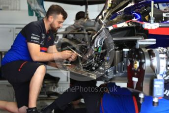 World © Octane Photographic Ltd. Formula 1 – British GP - Pit Lane. Scuderia Toro Rosso STR14. Silverstone Circuit, Towcester, Northamptonshire. Thursday 11th July 2019.
