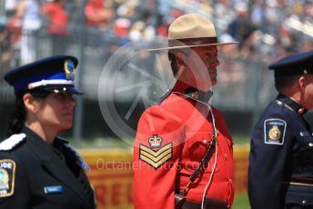 World © Octane Photographic Ltd. Formula 1 – Canadian GP. Drivers' parade. RCMP (Mounties) at the Drivers' parade. Circuit de Gilles Villeneuve, Montreal, Canada. Sunday 9th June 2019.