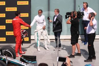 World © Octane Photographic Ltd. Formula 1 – Canadian GP. Parc Ferme. Mercedes AMG Petronas Motorsport AMG F1 W10 EQ Power+ - Lewis Hamilton and  Scuderia Ferrari SF90 – Charles Leclerc with Martin Brundle. Circuit de Gilles Villeneuve, Montreal, Canada. Sunday 9th June 2019.
