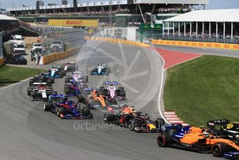 World © Octane Photographic Ltd. Formula 1 – Canadian GP. Race. The tail end of the pack in turn 2. Circuit de Gilles Villeneuve, Montreal, Canada. Sunday 9th June 2019.