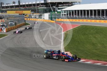 World © Octane Photographic Ltd. Formula 1 – Canadian GP. Race. Scuderia Toro Rosso STR14 – Daniil Kvyat and SportPesa Racing Point RP19 - Sergio Perez. Circuit de Gilles Villeneuve, Montreal, Canada. Sunday 9th June 2019.