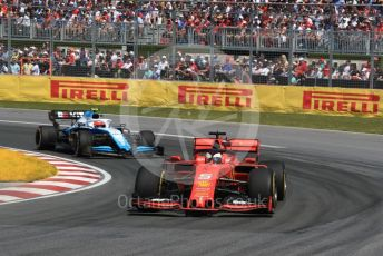 World © Octane Photographic Ltd. Formula 1 – Canadian GP. Race. Scuderia Ferrari SF90 – Sebastian Vettel and ROKiT Williams Racing FW42 – Robert Kubica. Circuit de Gilles Villeneuve, Montreal, Canada. Sunday 9th June 2019.