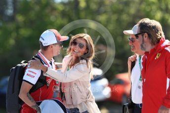 World © Octane Photographic Ltd. Formula 1 – Canadian GP. Paddock. Alfa Romeo Racing C38 – Kimi Raikkonen and Stefania Bocchi. Circuit de Gilles Villeneuve, Montreal, Canada. Saturday 8th June 2019.