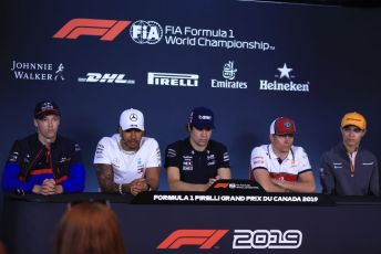 World © Octane Photographic Ltd. Formula 1 – Canadian GP. FIA Drivers Press Conference. Alfa Romeo Racing C38 – Kimi Raikkonen, McLaren MCL34 – Lando Norris, Mercedes AMG Petronas Motorsport AMG F1 W10 EQ Power+ - Lewis Hamilton, SportPesa Racing Point RP19 – Lance Stroll, Scuderia Toro Rosso STR14 – Daniil Kvyat. Circuit de Gilles Villeneuve, Montreal, Canada. Thursday 6th June 2019.