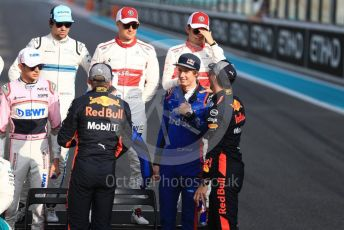 World © Octane Photographic Ltd. Formula 1 – Abu Dhabi GP - Class of 2018. Alfa Romeo Sauber F1 Team C37 – Marcus Ericsson, Charles Leclerc, Scuderia Toro Rosso STR13 – Brendon Hartley and Aston Martin Red Bull Racing TAG Heuer RB14 – Daniel Ricciardo. Yas Marina Circuit, Abu Dhabi. Sunday 25th November 2018.