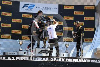 World © Octane Photographic Ltd. FIA Formula 2 (F2) – French GP - Race 2. BWT Arden - Anthoine Hubert, Sauber Junior Team - Juan Manuel Correa and Virtuosi Racing - Guanyu Zhou. Circuit Paul Ricard, La Castellet. Sunday 23rd 2019.