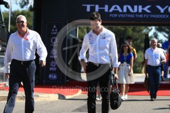 World © Octane Photographic Ltd. Formula 1 - French GP. Paddock. Toto Wolff - Executive Director & Head of Mercedes - Benz Motorsport and Lance Stroll father Lawrence Stroll - investor, part-owner of SportPesa Racing Point. Paul Ricard Circuit, La Castellet, France. Friday 21st June 2019.