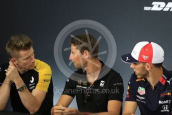World © Octane Photographic Ltd. Formula 1 – French GP. FIA Drivers Press Conference. Rich Energy Haas F1 Team – Romain Grosjean, Aston Martin Red Bull Racing – Pierre Gasly and Renault Sport F1 Team – Nico Hulkenberg. Paul Ricard Circuit, La Castellet, France. Thursday 20th June 2019.