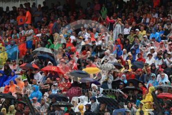 World © Octane Photographic Ltd. Formula 1 – German GP - Grid. The crowds in the main grandstand under umbrellas. Hockenheimring, Hockenheim, Germany. Sunday 28th July 2019.