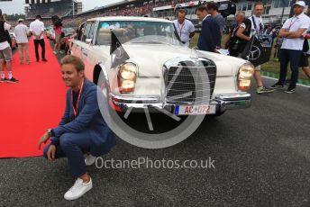 World © Octane Photographic Ltd. Formula 1 – German GP - Drivers Parade. Nico Rosberg by Lewis Hamilton's car. Hockenheimring, Hockenheim, Germany. Sunday 28th July 2019.