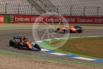 World © Octane Photographic Ltd. Formula 1 – German GP - Practice 1. McLaren MCL34 – Carlos Sainz and Lando Norris. Hockenheimring, Hockenheim, Germany. Friday 26th July 2019.