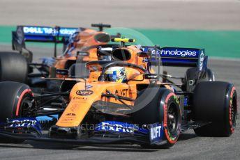 World © Octane Photographic Ltd. Formula 1 – German GP - Practice 1. McLaren MCL34 – Lando Norris and Carlos Sainz. Hockenheimring, Hockenheim, Germany. Friday 26th July 2019.