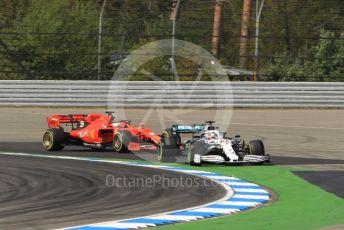 World © Octane Photographic Ltd. Formula 1 – German GP - Practice 2. Mercedes AMG Petronas Motorsport AMG F1 W10 EQ Power+ - Lewis Hamilton and Scuderia Ferrari SF90 – Sebastian Vettel. Hockenheimring, Hockenheim, Germany. Friday 26th July 2019.