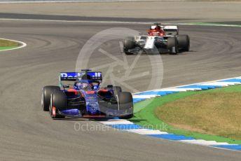 World © Octane Photographic Ltd. Formula 1 – German GP - Practice 2. Scuderia Toro Rosso STR14 – Daniil Kvyat and Alfa Romeo Racing C38 – Kimi Raikkonen. Hockenheimring, Hockenheim, Germany. Friday 26th July 2019.