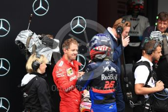 World © Octane Photographic Ltd. Formula 1 – German GP - Parc Ferme. Scuderia Ferrari SF90 – Sebastian Vettel and Scuderia Toro Rosso STR14 – Daniil Kvyat. Hockenheimring, Hockenheim, Germany. Sunday 28th July 2019.