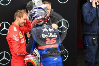 World © Octane Photographic Ltd. Formula 1 – German GP - Parc Ferme. Scuderia Ferrari SF90 – Sebastian Vettel and Scuderia Toro Rosso STR14 – Daniil Kvyat. Hockenheimring, Hockenheim, Germany. Sunday 28th July 2019.