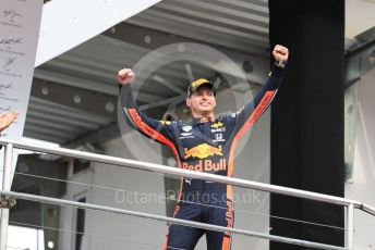 World © Octane Photographic Ltd. Formula 1 – German GP - Podium. Aston Martin Red Bull Racing RB15 – Max Verstappen. Hockenheimring, Hockenheim, Germany. Sunday 28th July 2019.