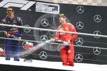 World © Octane Photographic Ltd. Formula 1 – German GP - Podium. Scuderia Ferrari SF90 – Sebastian Vettel and Scuderia Toro Rosso STR14 – Daniil Kvyat. Hockenheimring, Hockenheim, Germany. Sunday 28th July 2019.